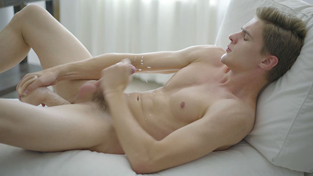 Skinny boy cock stroking with Randi Freja